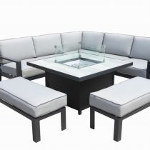 Apollo Square Gas Fire Pit Lounge Set
