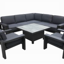 Titan Square Casual Dining Set With Lounge Chairs